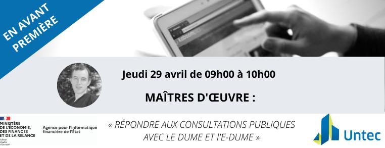 WEBTECH : DUME ET E-DUME POUR LA MAÎTRISE D'OEUVRE